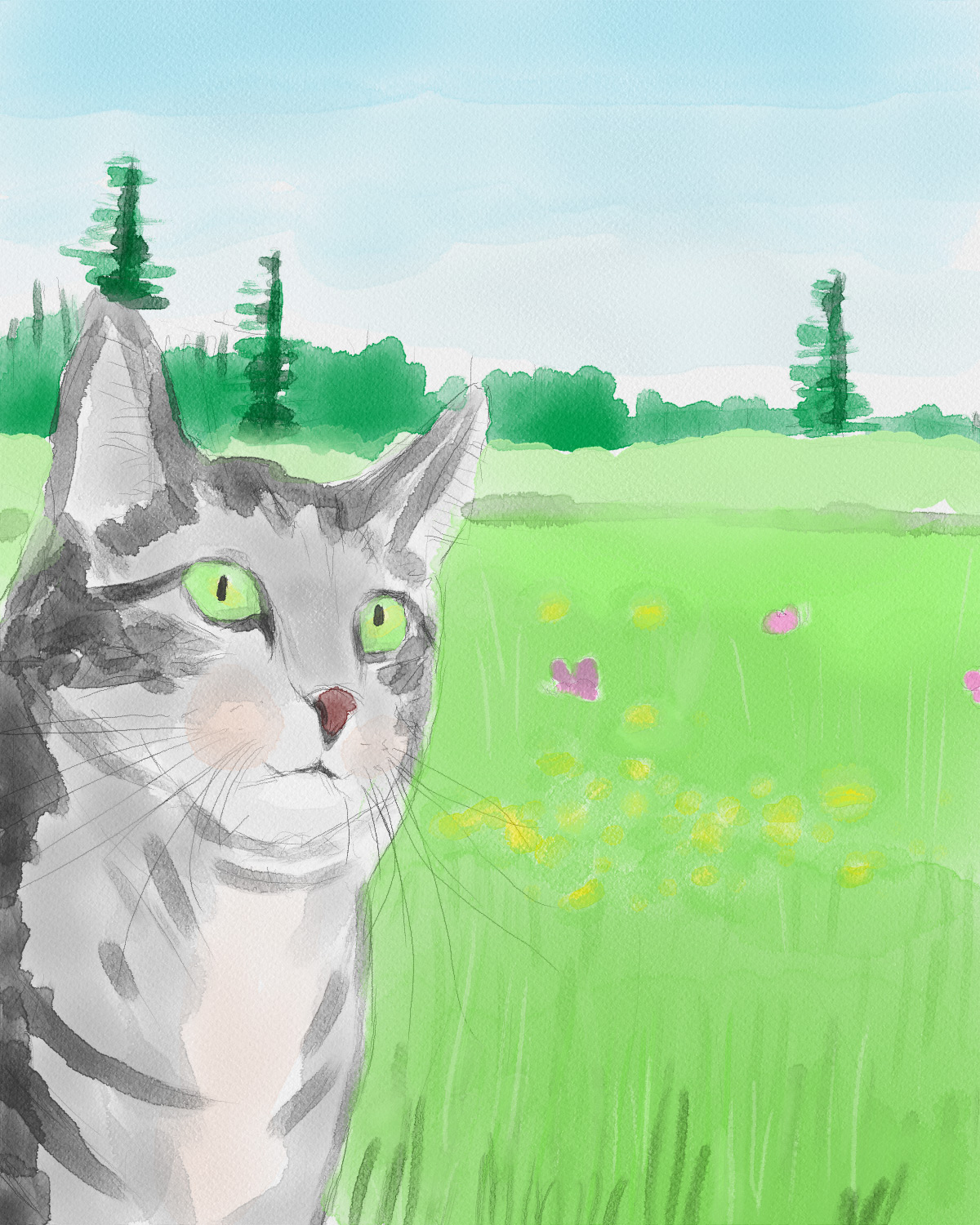 Watercolor tabby in the meadow