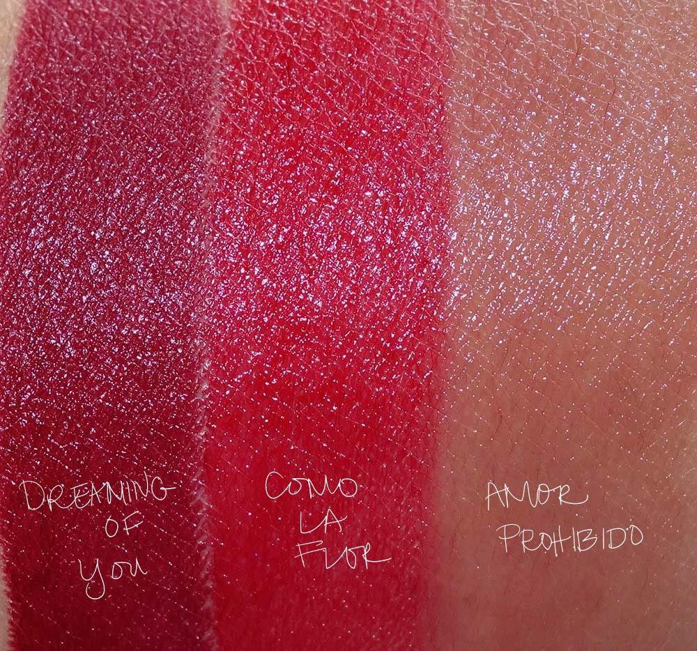mac selena swatches lipsticks