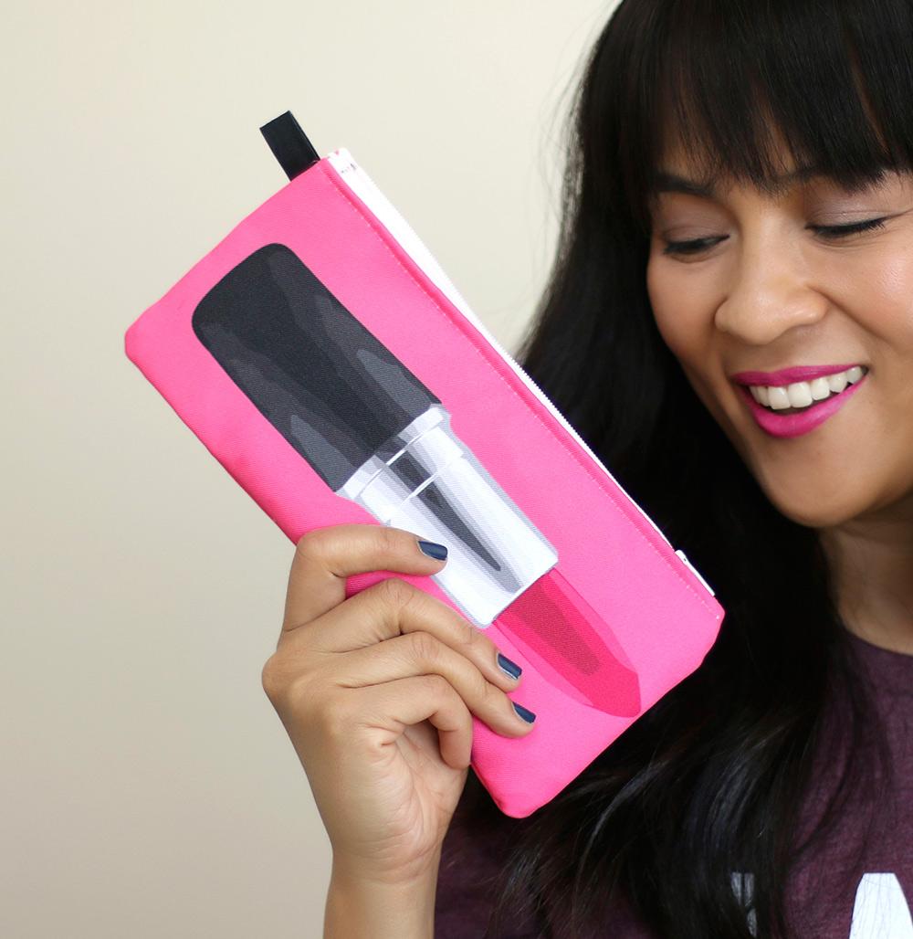 drawn to lipstick makeup bag