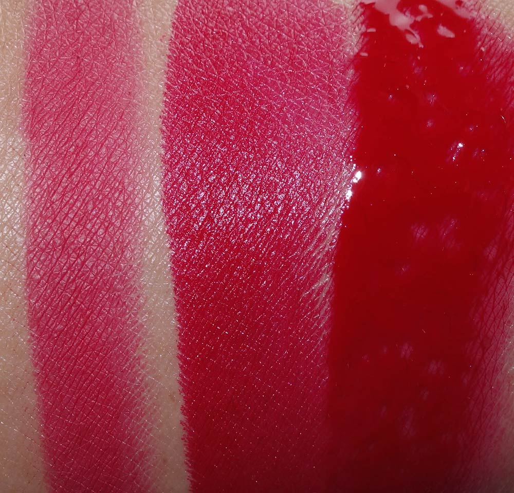 mac nutcracker sweet red lip bag swatches