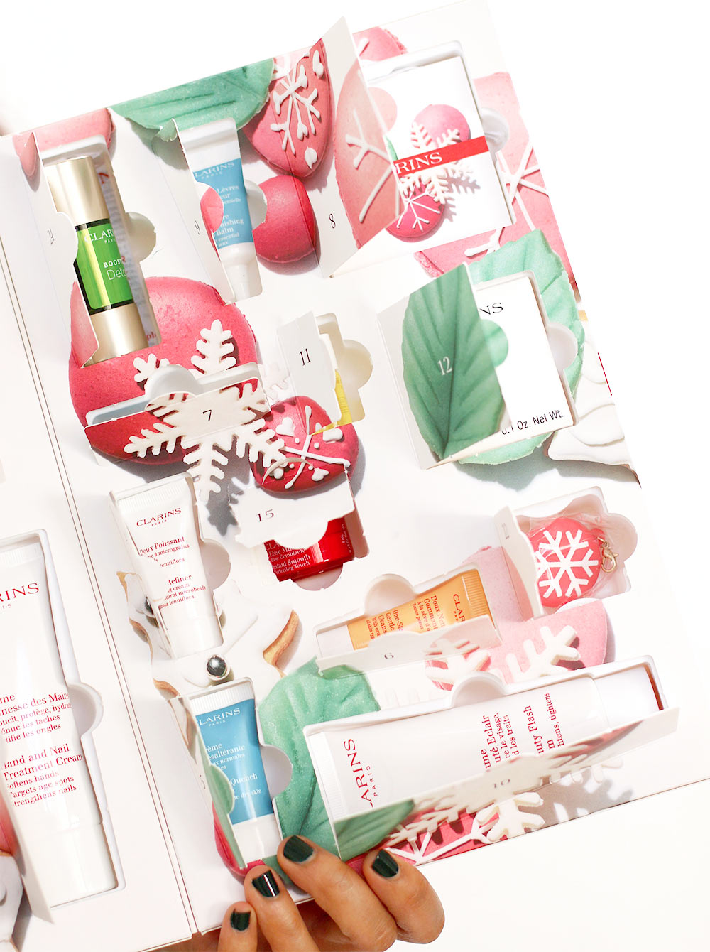 clarins beauty delights advent calendar goodies