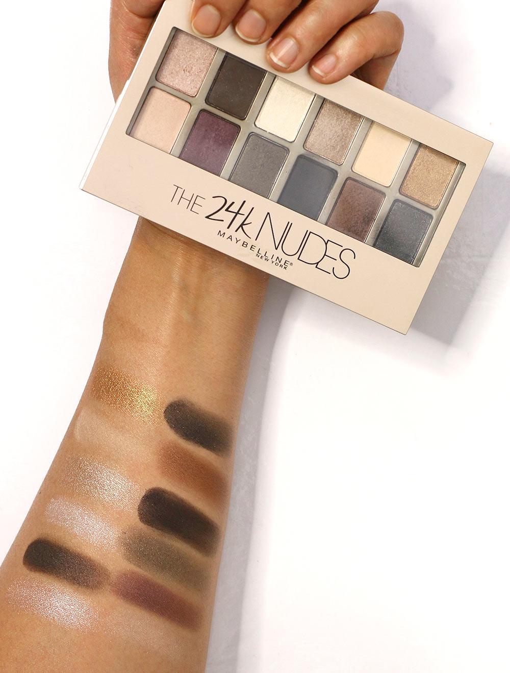 maybelline the 24karat nudes palette swatches