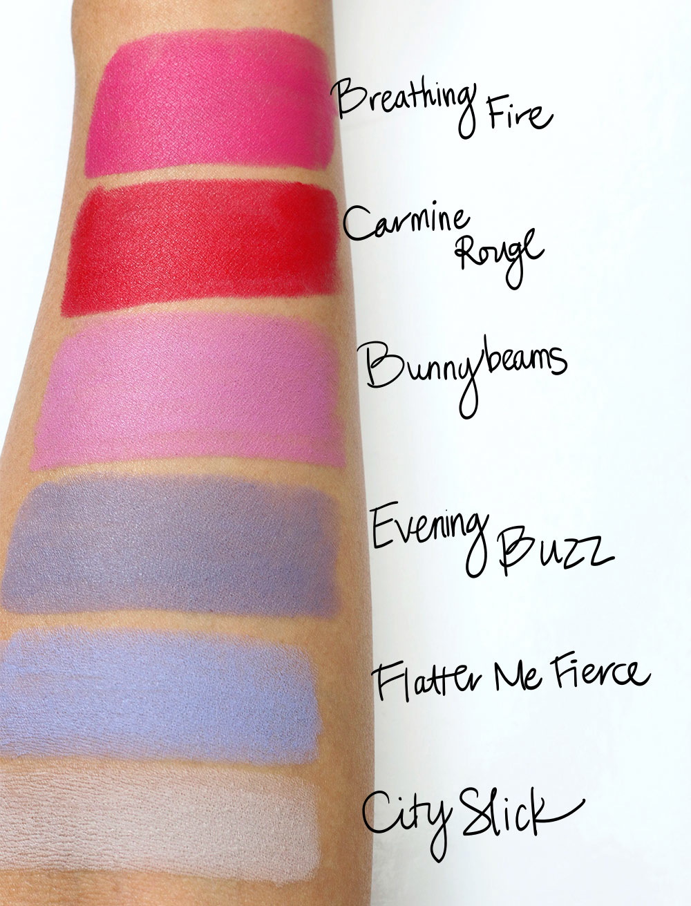 mac colour rocker swatches pinks purples greys