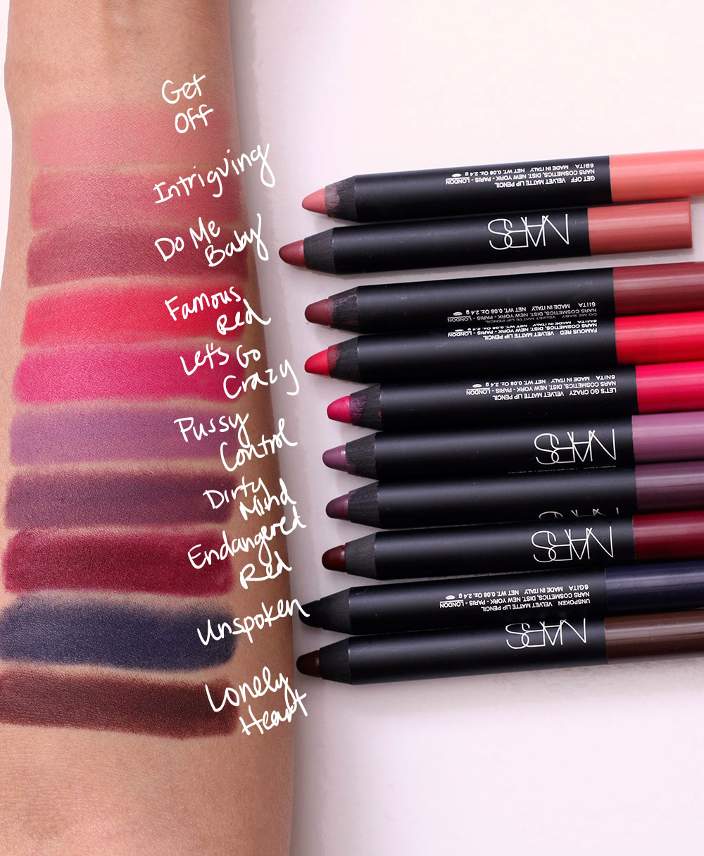 nars velvet matte lip swatches