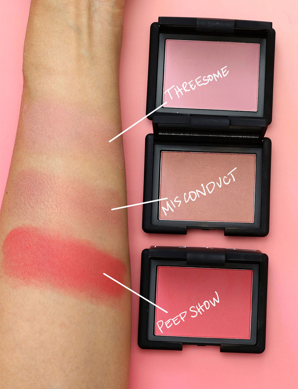 nars pop goes the easel blush swatches final