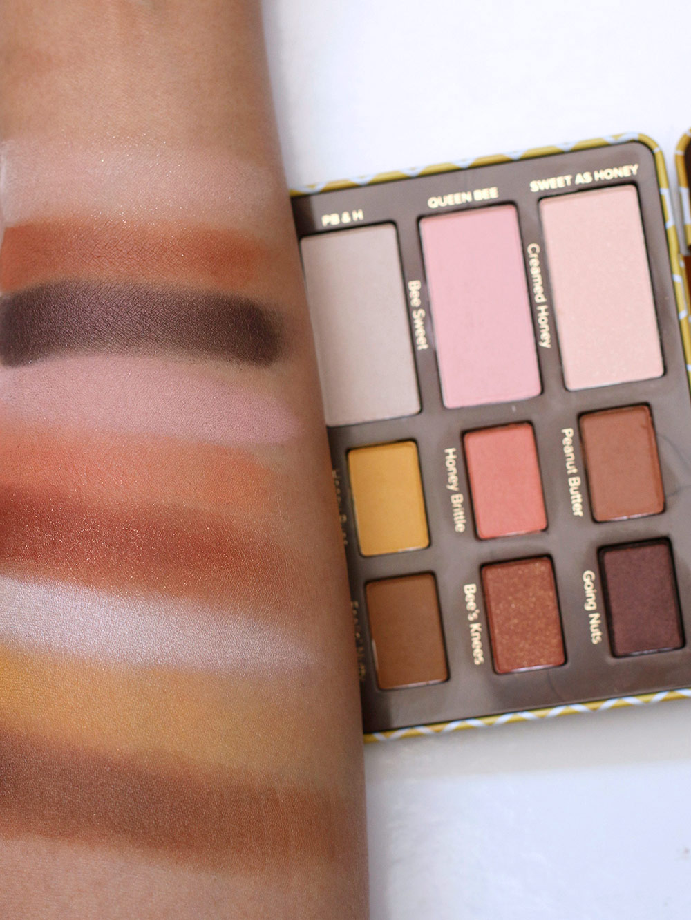 too faced peanut butter honey palette swatches