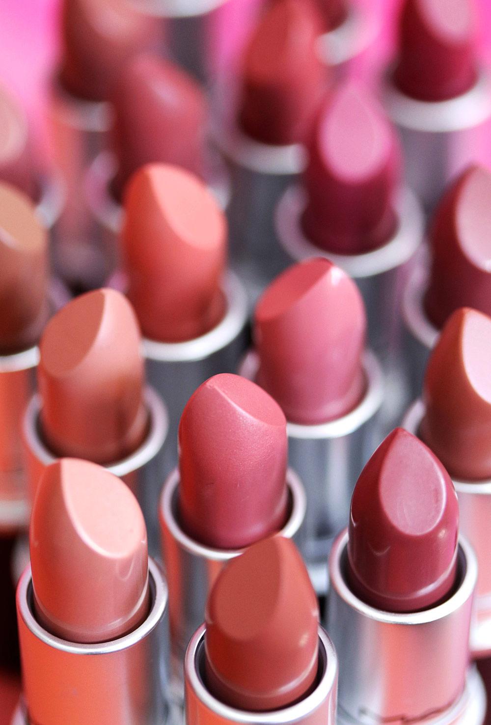 mac lispticks nudes pinks