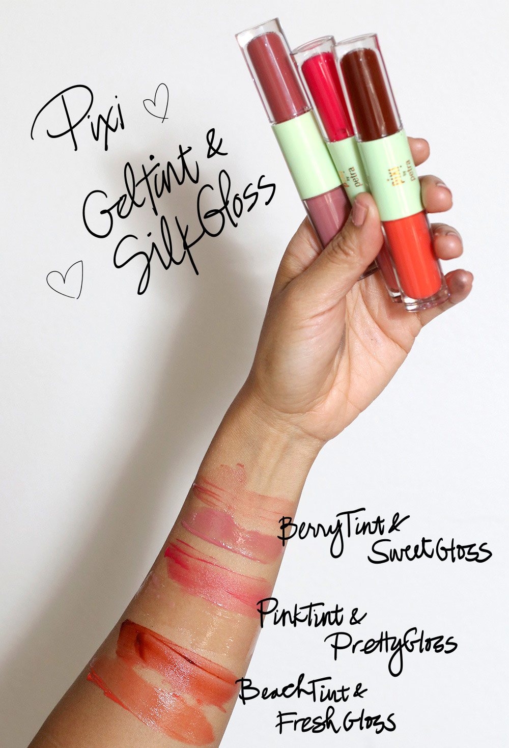 pixi geltint silkgloss swatches