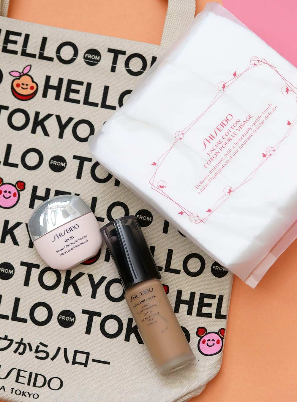 The Ibuki Smart Filtering Smoother ($23), Synchro Skin Foundation in Golden 5 ($45) and Facial Cottono ($10)