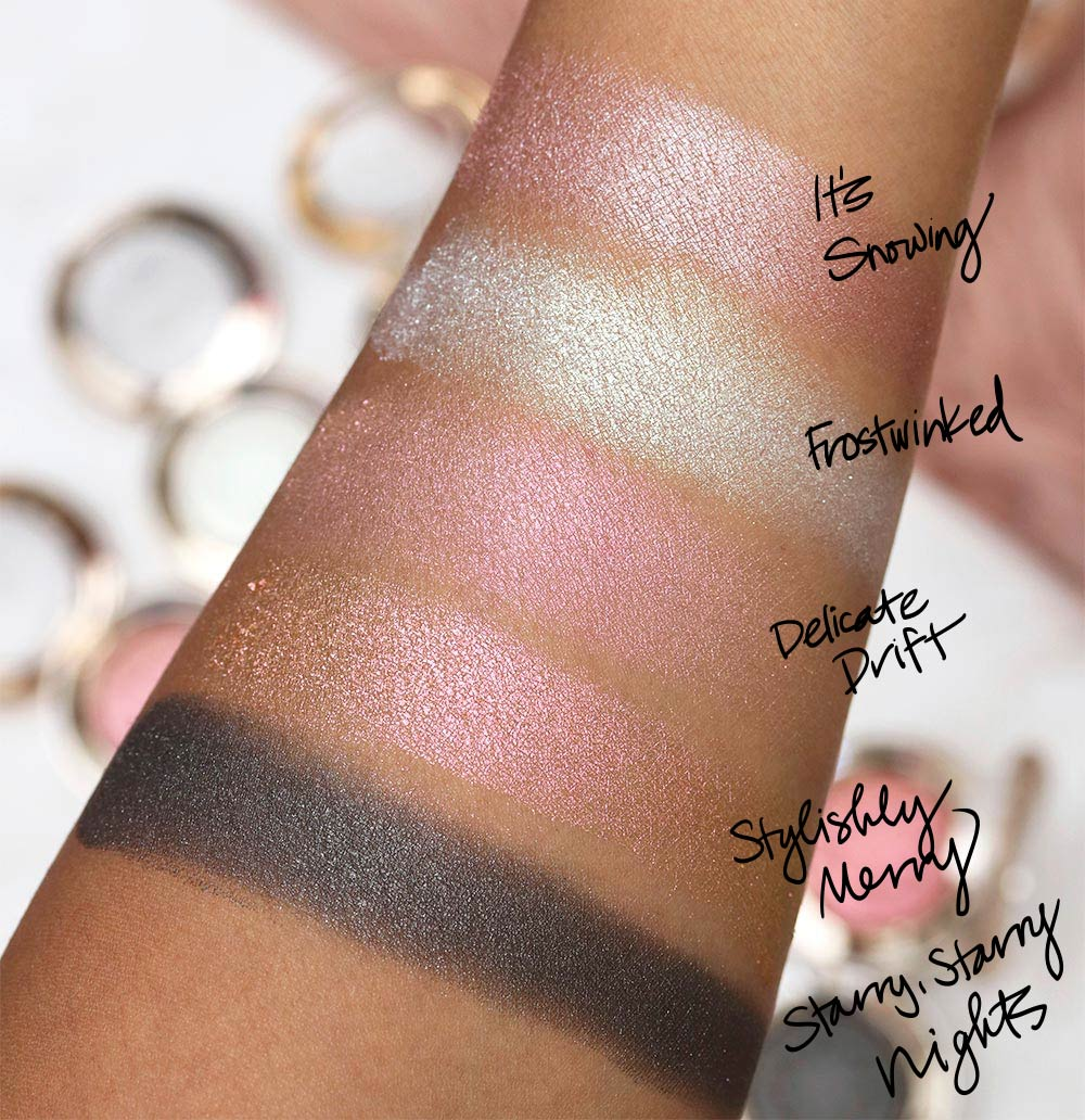 mac snow ball holiday collection extra dimension eye shadow swatches