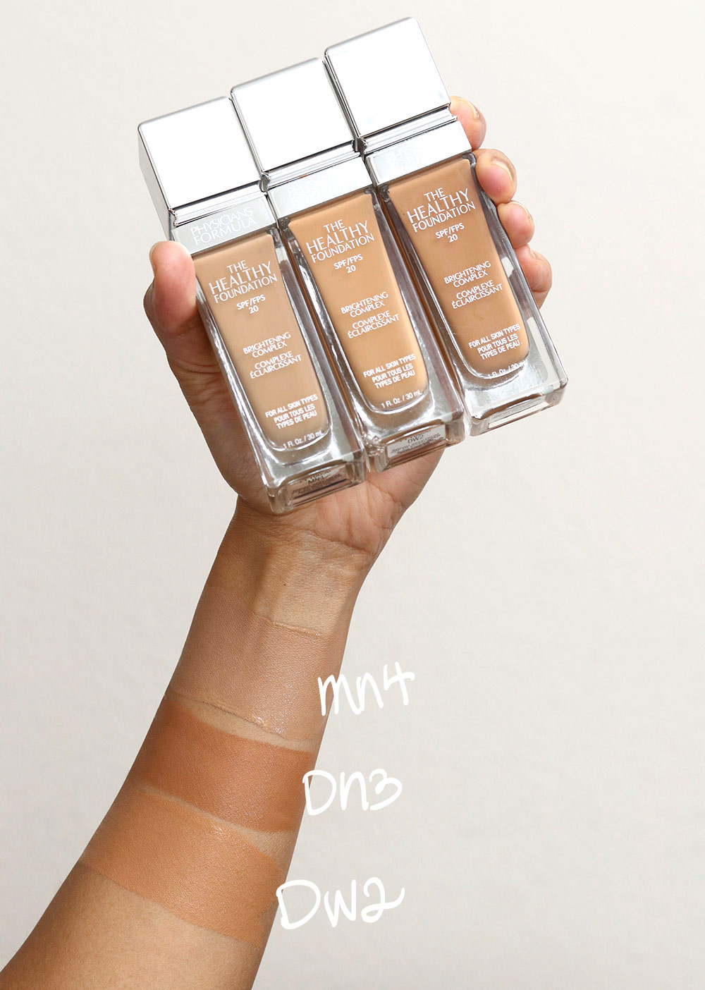 physicians formula the healthy foundation swatches mn4 dn3 dw2