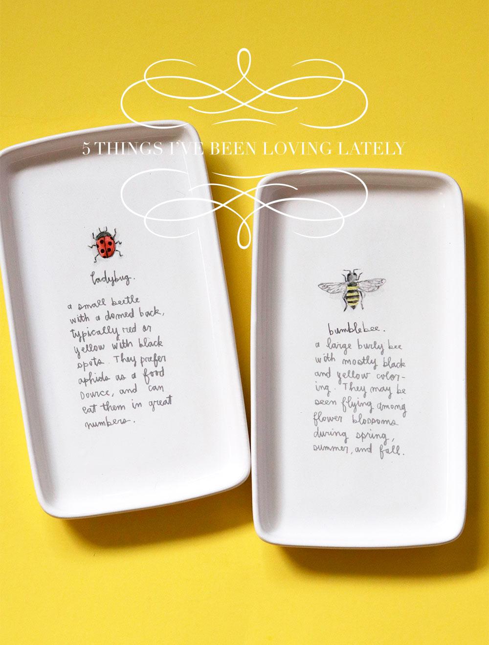 rae dunn ladybug bumblebee tray