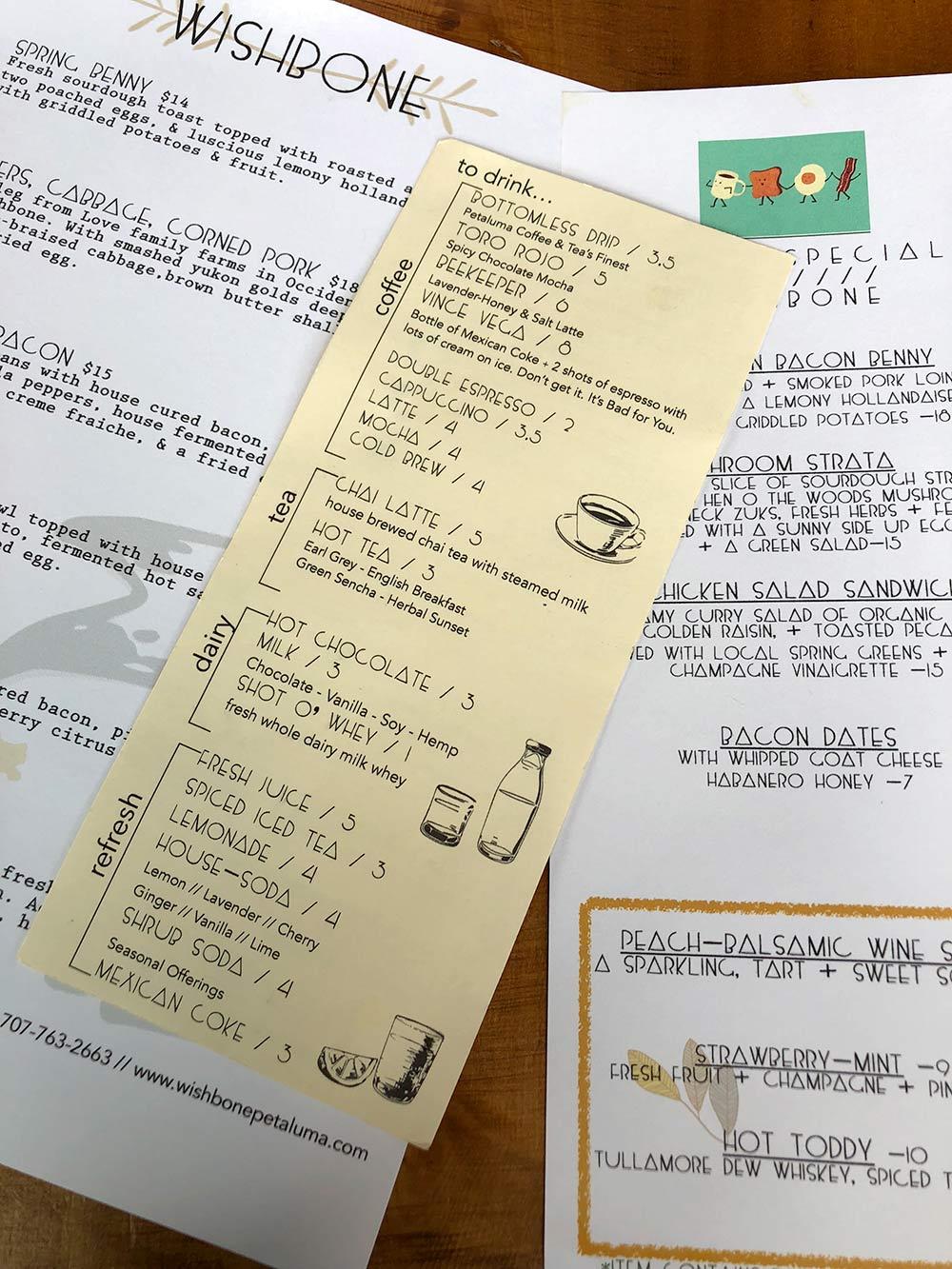 wisbone petaluma drink menu