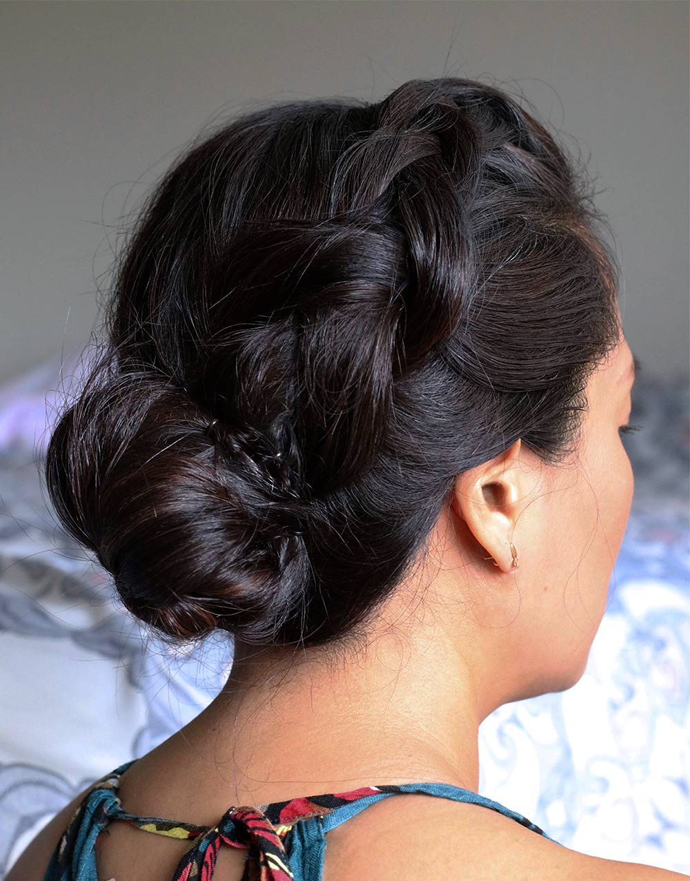 dutch braid messy bun