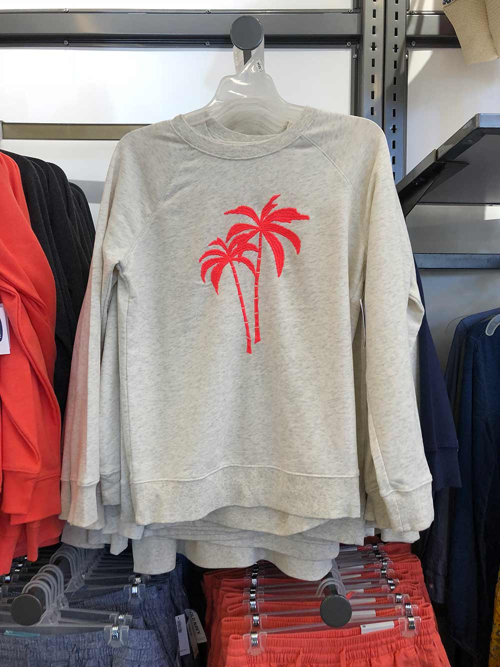 old navy coral palm sweat shirt