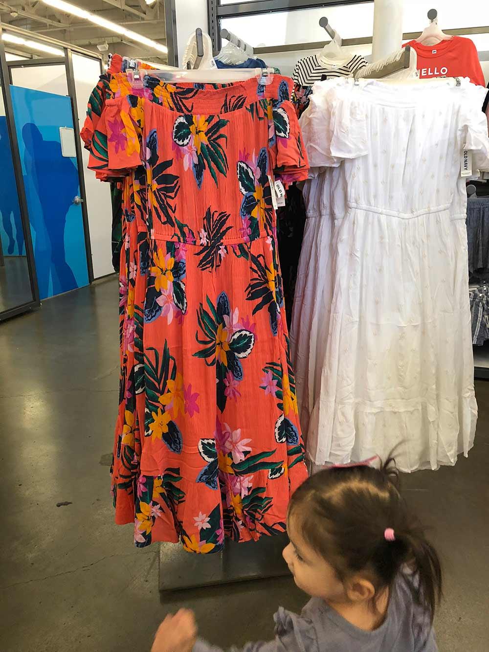 old navy coral print midi dress