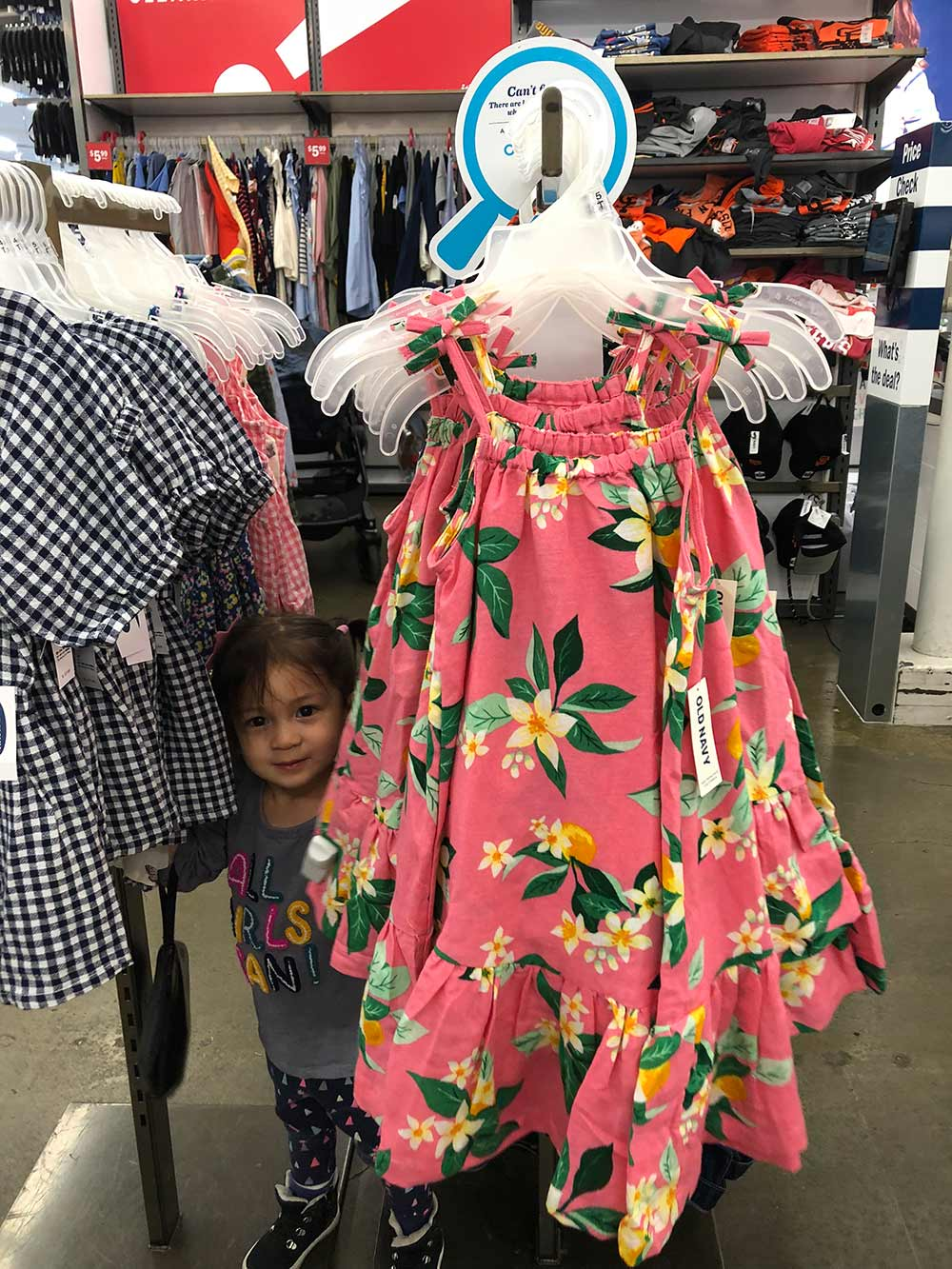 old navy coral tropical print dress