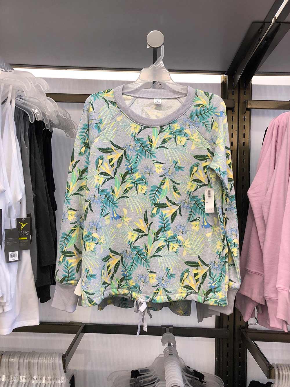 old navy tropical print sweatshirt