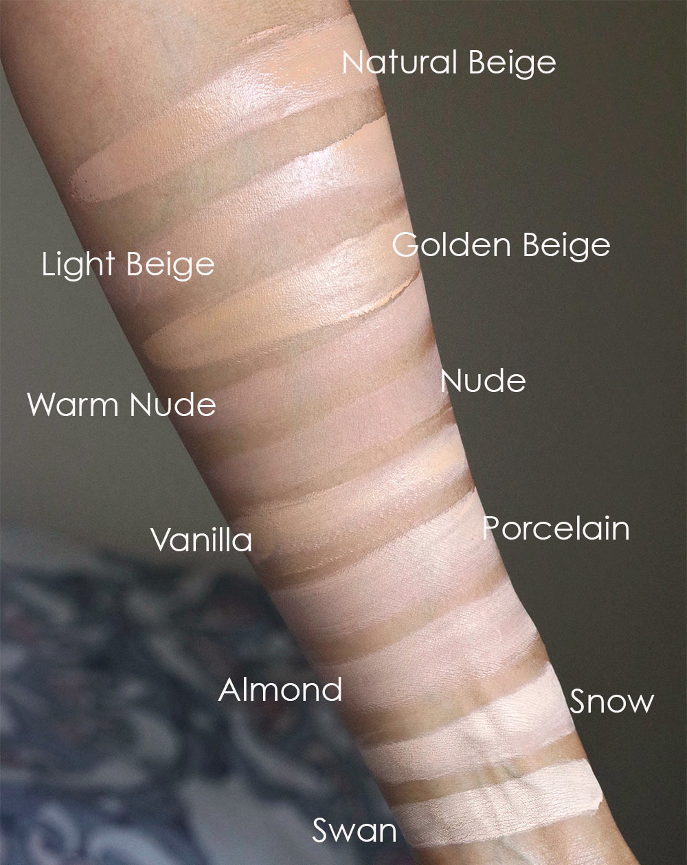 too faced peach perfect foundation swatches 1