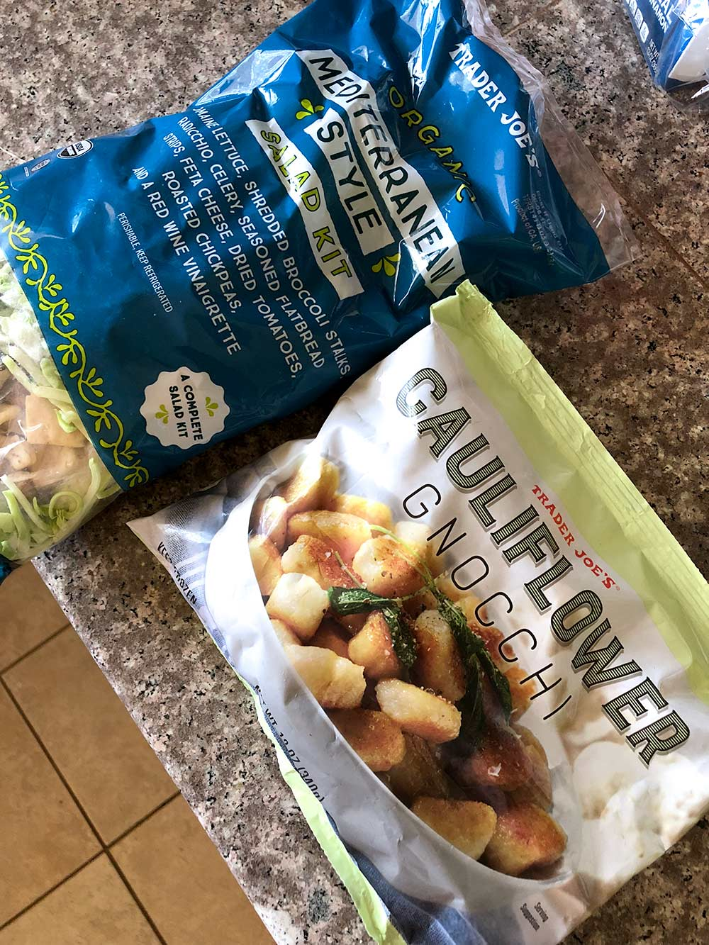 trader joes cauliflower gnocchi and mediterranean style salad kit