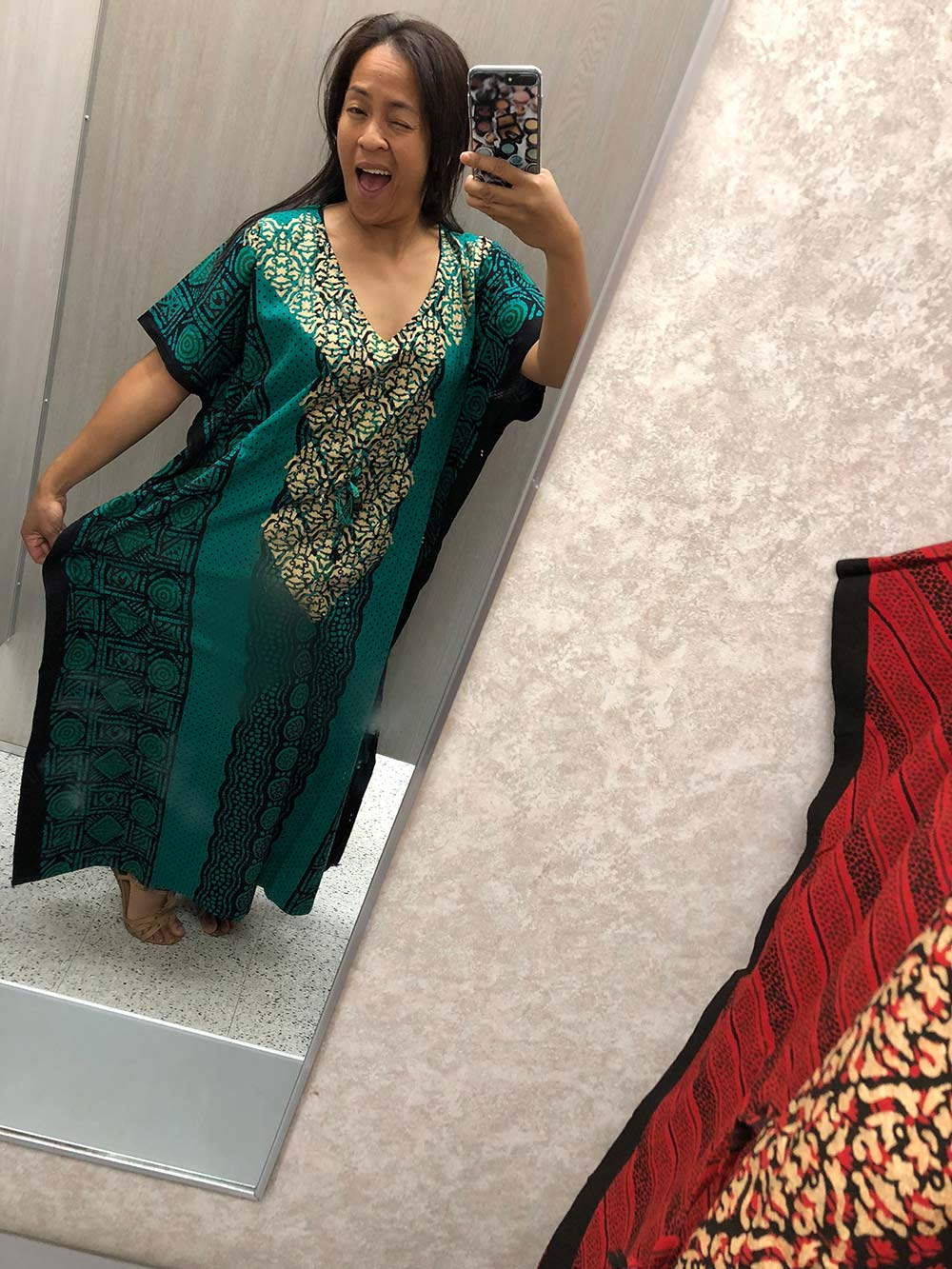 mrs roper caftan green 2