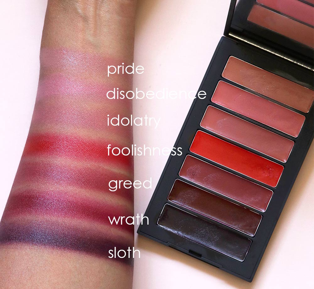 nars fall 2018 swatches 7 deadly sins