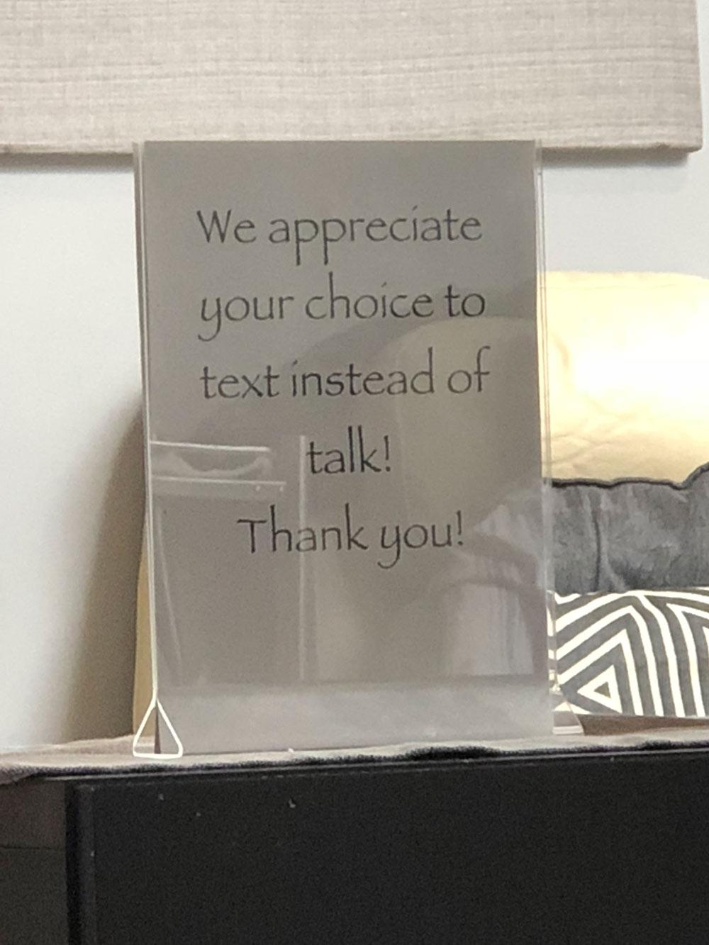 weird texting sign