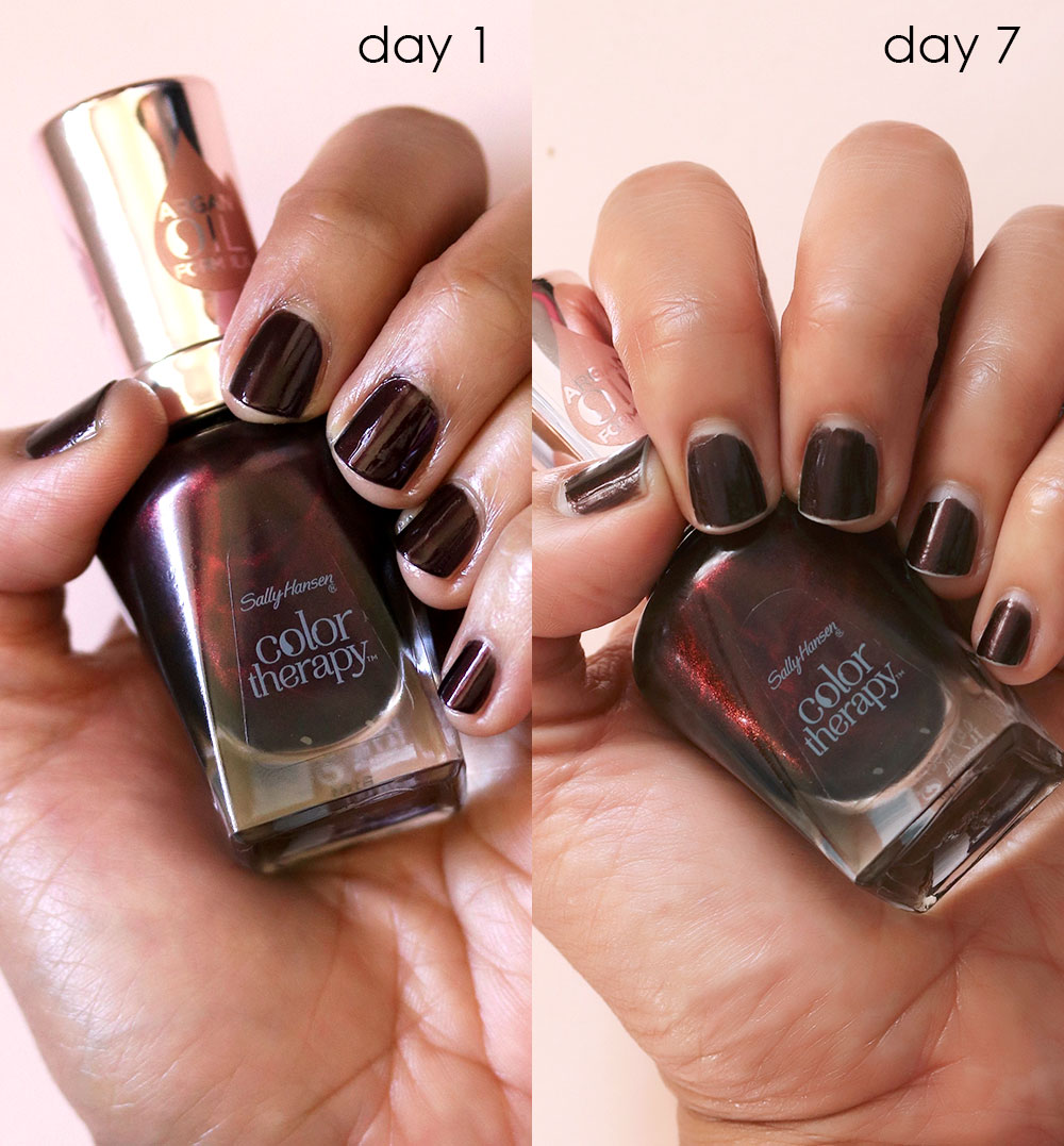sally hansen color therapy falling deep swatch before after - Desperately Seeking Persistent Polish: 7 Days With Sally Hansen Color Therapy Falling Deep