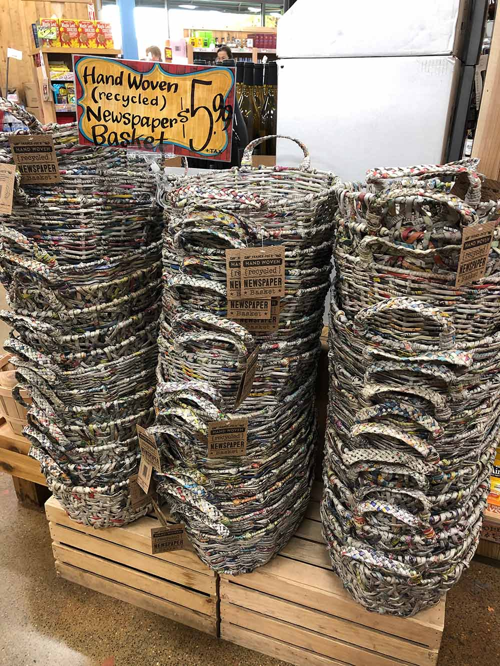 trader joes recycled newspaper baskets