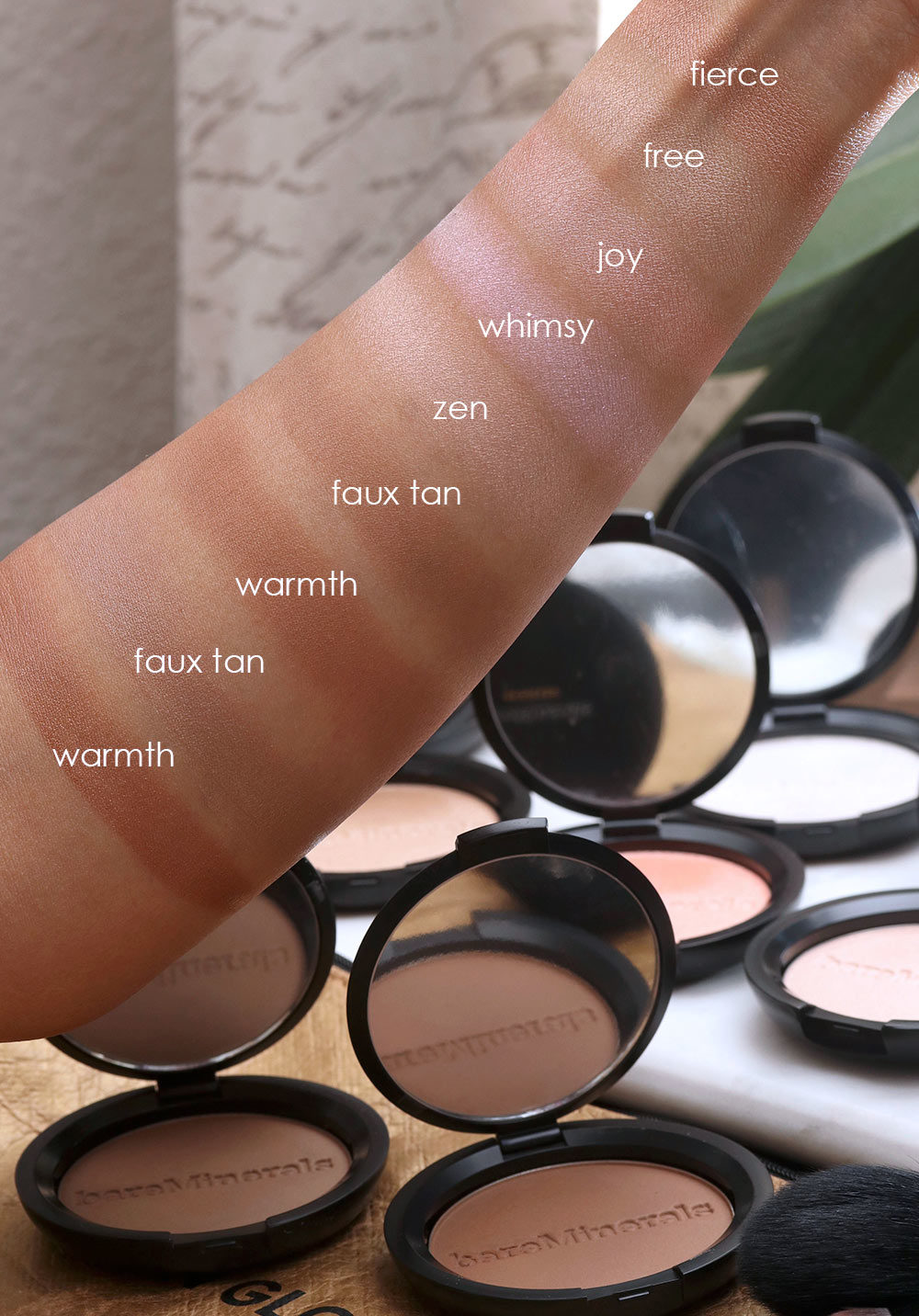 bareminerals glow collection swatches
