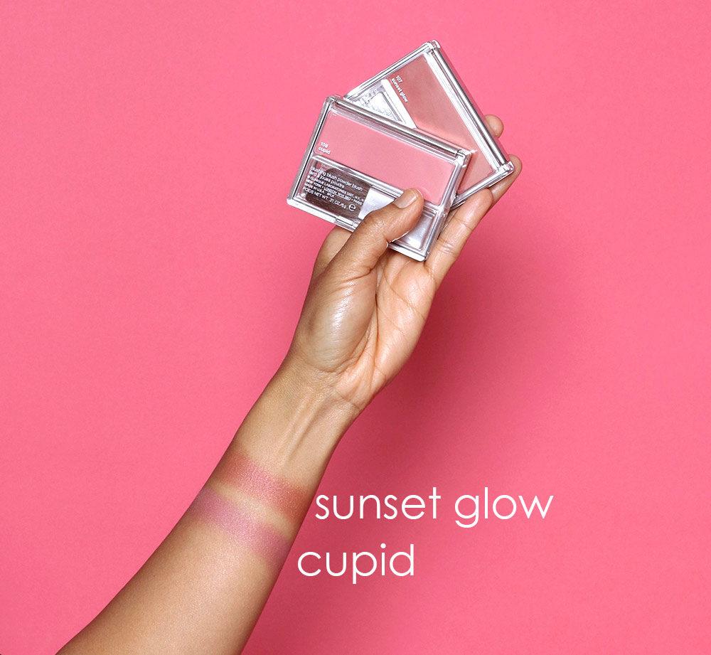 clinique blushing blush powder blush sunset glow cupid swatches