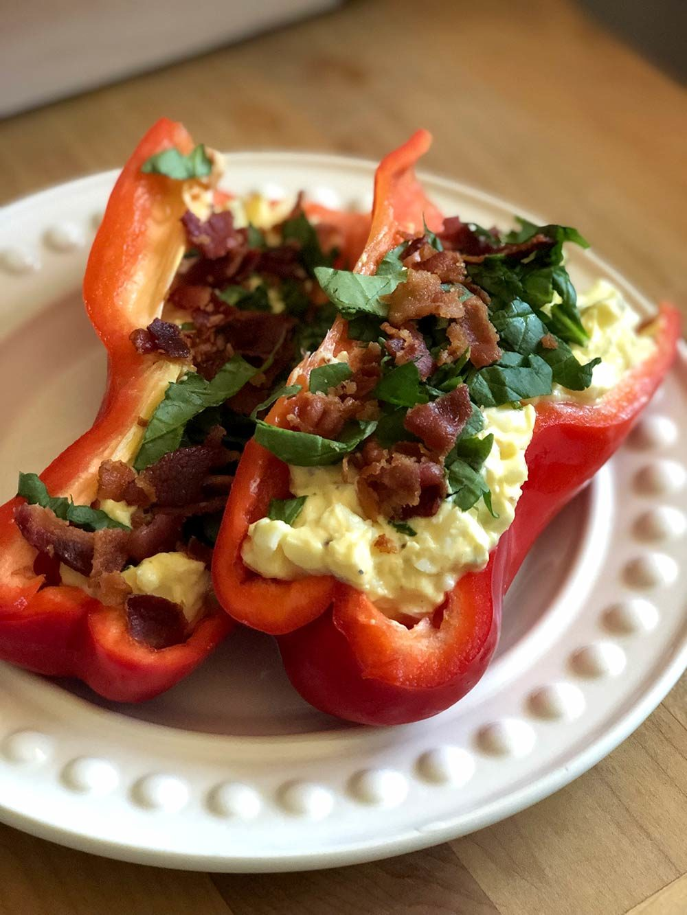 egg salad in red bell pepper