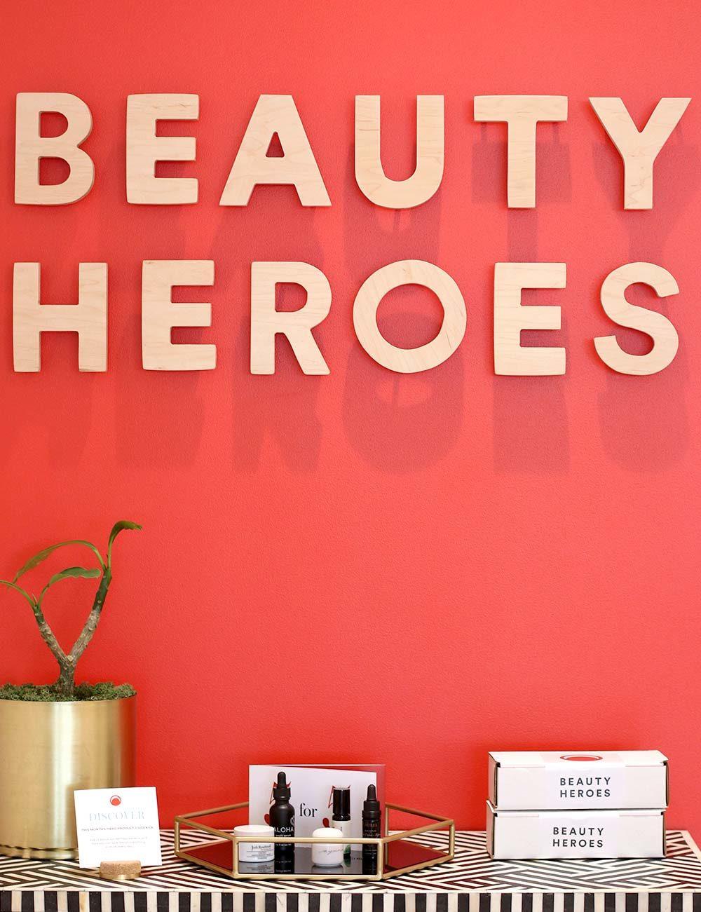beauty heroes orange wall