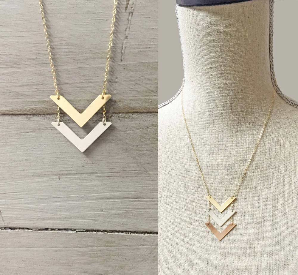 marley jane double chevron necklace