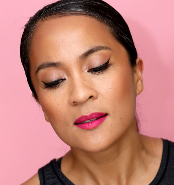 A Drugstore Makeup Look: Mostly Faux Freckles, Winged Liner and Bright Magenta Matte Lipstick