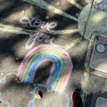 love you chalk drawing