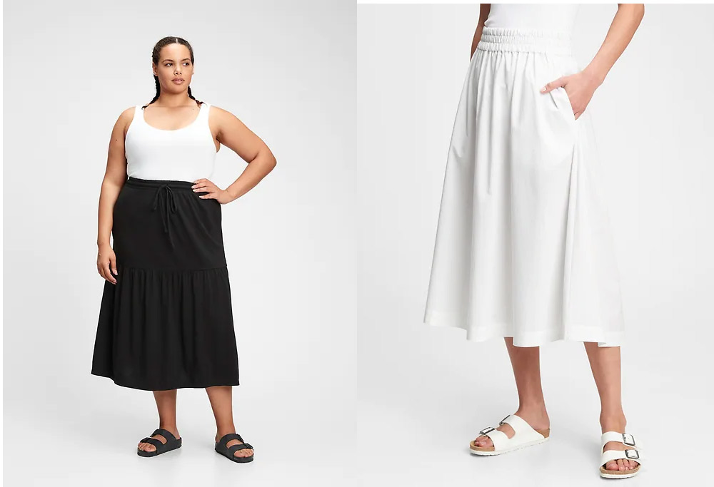 black white midi skirts