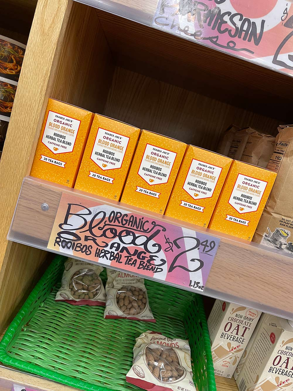 trader joes blood orange rooibos tea shelf