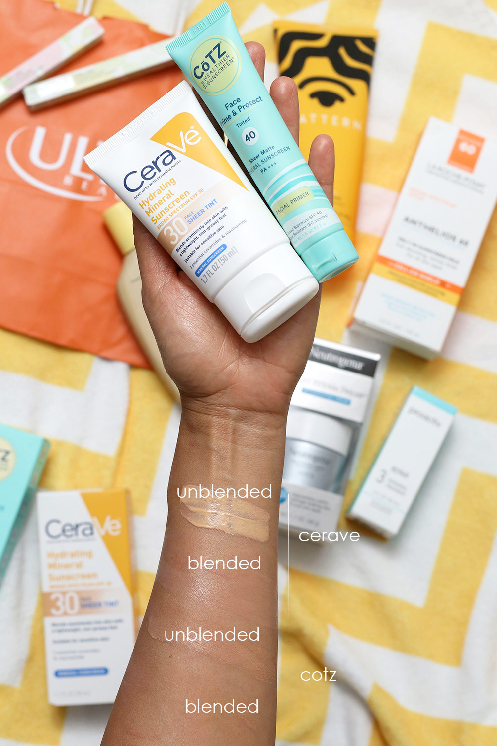 cerave cotz sunscreen swatches